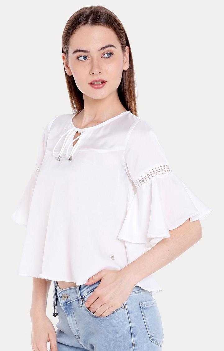White Solid Regular Fit Blouson Top