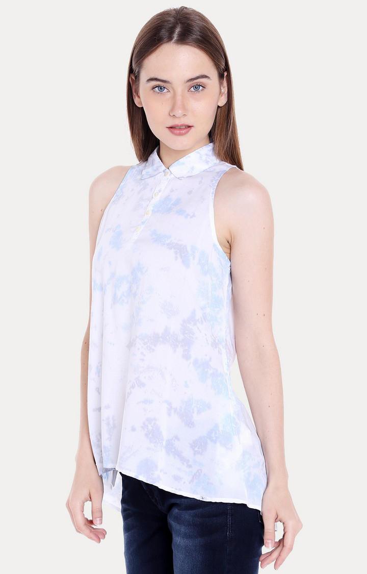 White & Blue Printed Regular Fit Blouson Top