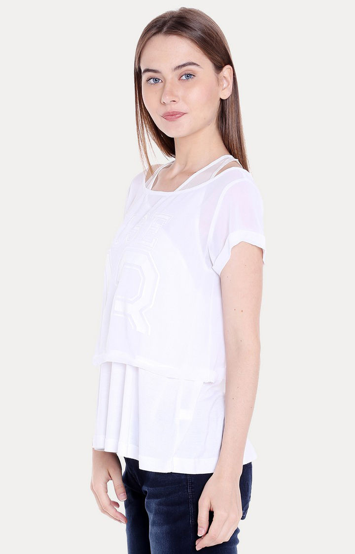 White Solid Regular Fit Blouson Top