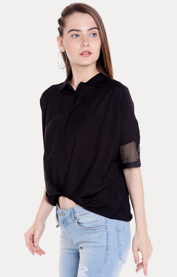 Black Solid Regular Fit Blouson Top