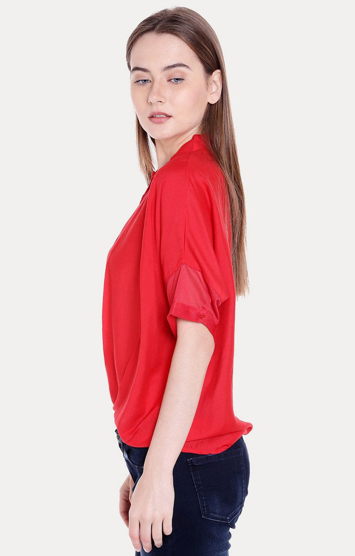Red Solid Regular Fit Blouson Top