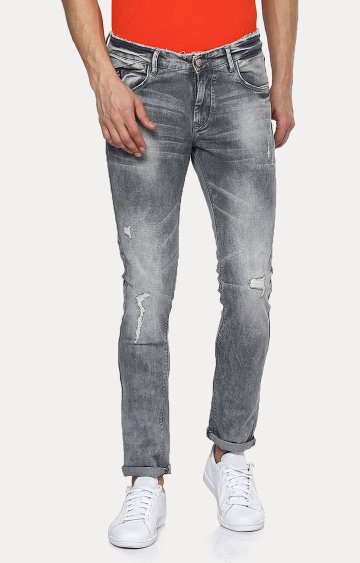 Grey Solid Skinny Fit Jeans