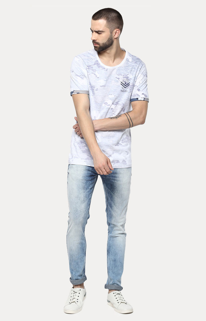 White & Blue Camouflage Slim Fit T-Shirts