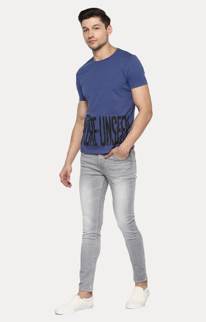 Blue Printed Slim Fit T-Shirts