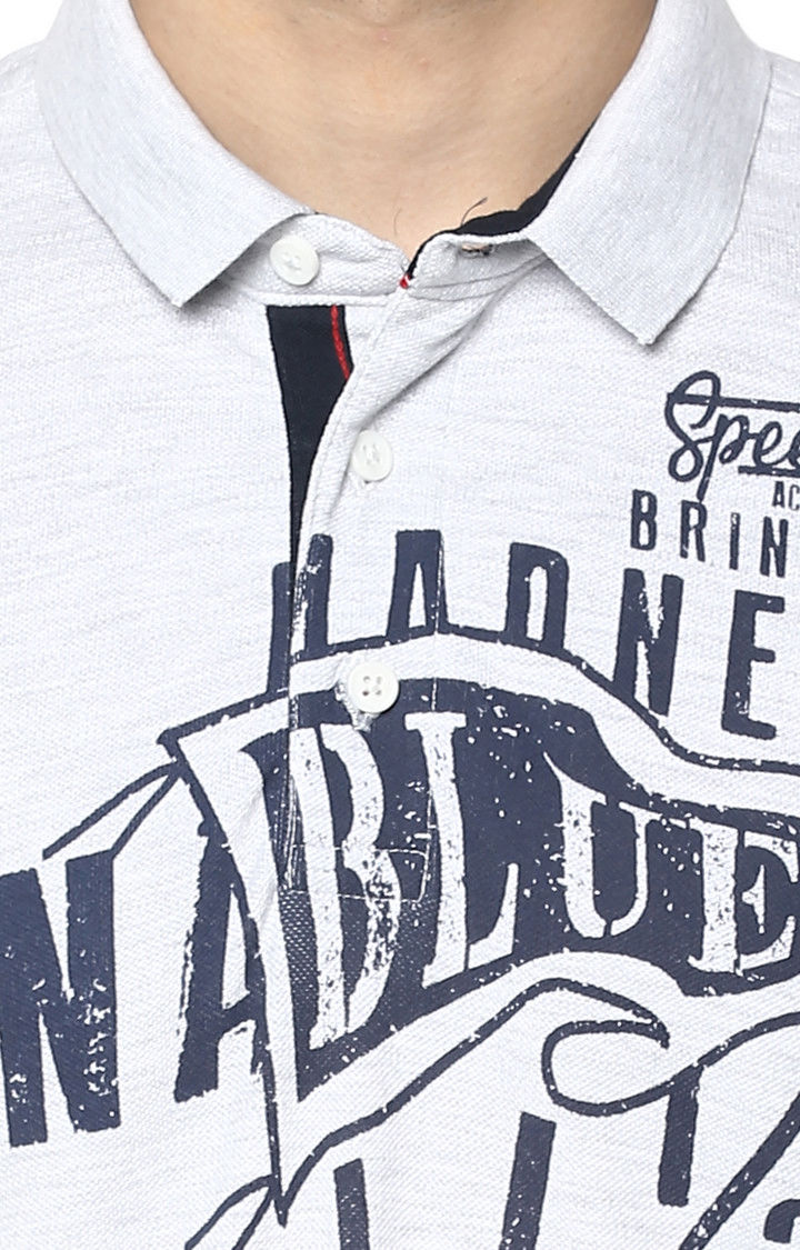 Light Grey Printed Slim Fit Polo T-Shirt
