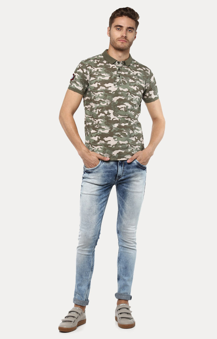 Green Camouflage Slim Fit Polo T-Shirt