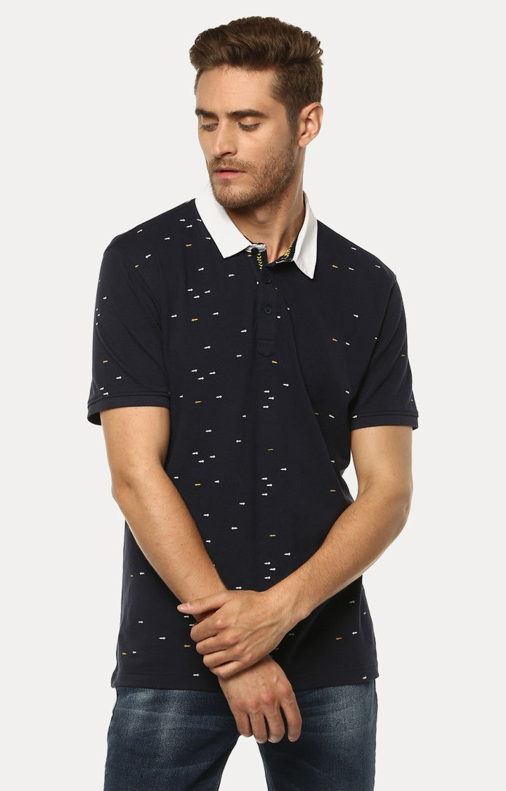 Navy Blue Printed Slim Fit Polo T-Shirt