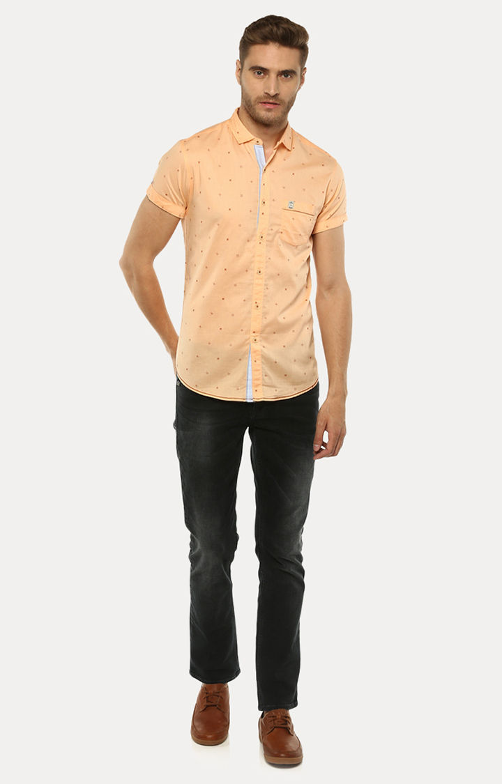 Peach Printed Slim Fit Casual Shirts