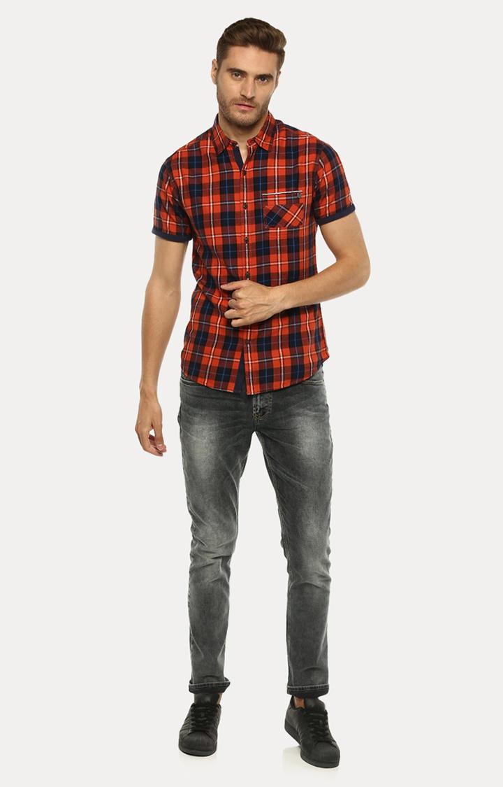 Orange Checked Slim Fit Casual Shirts