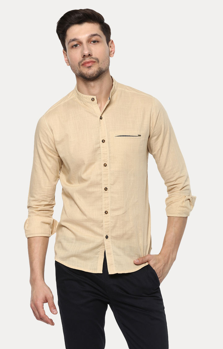 Beige Melange Slim Fit Casual Shirts