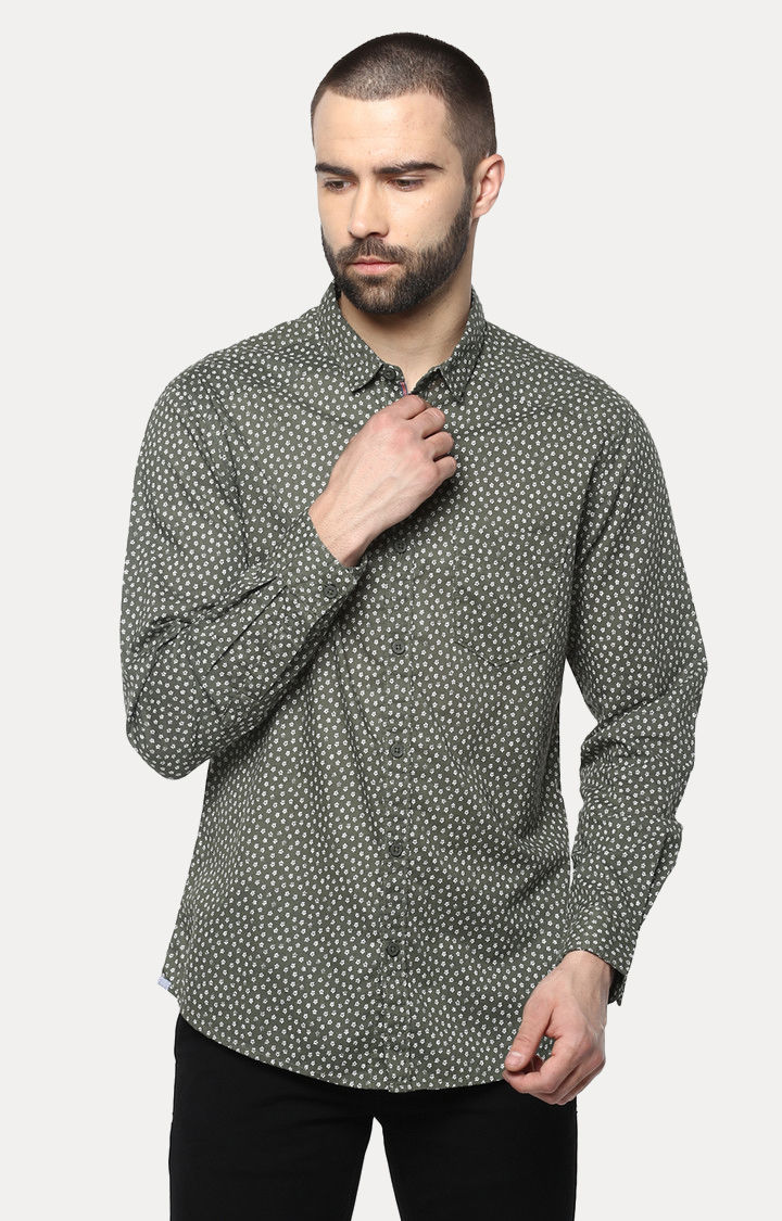Green Printed Slim Fit Casual Shirts