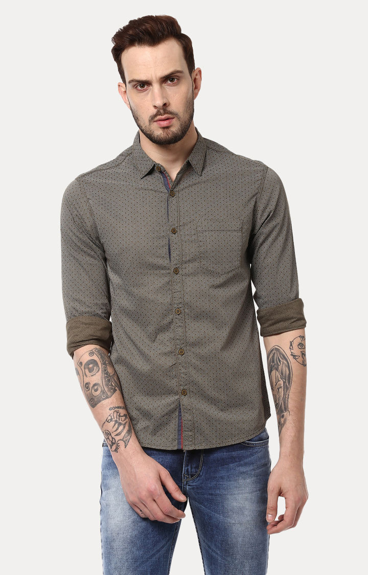 Olive Printed Slim Fit Casual Shirts