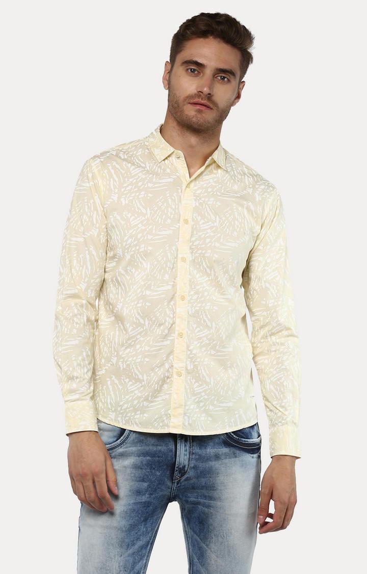 Yellow Printed Slim Fit Casual Shirts