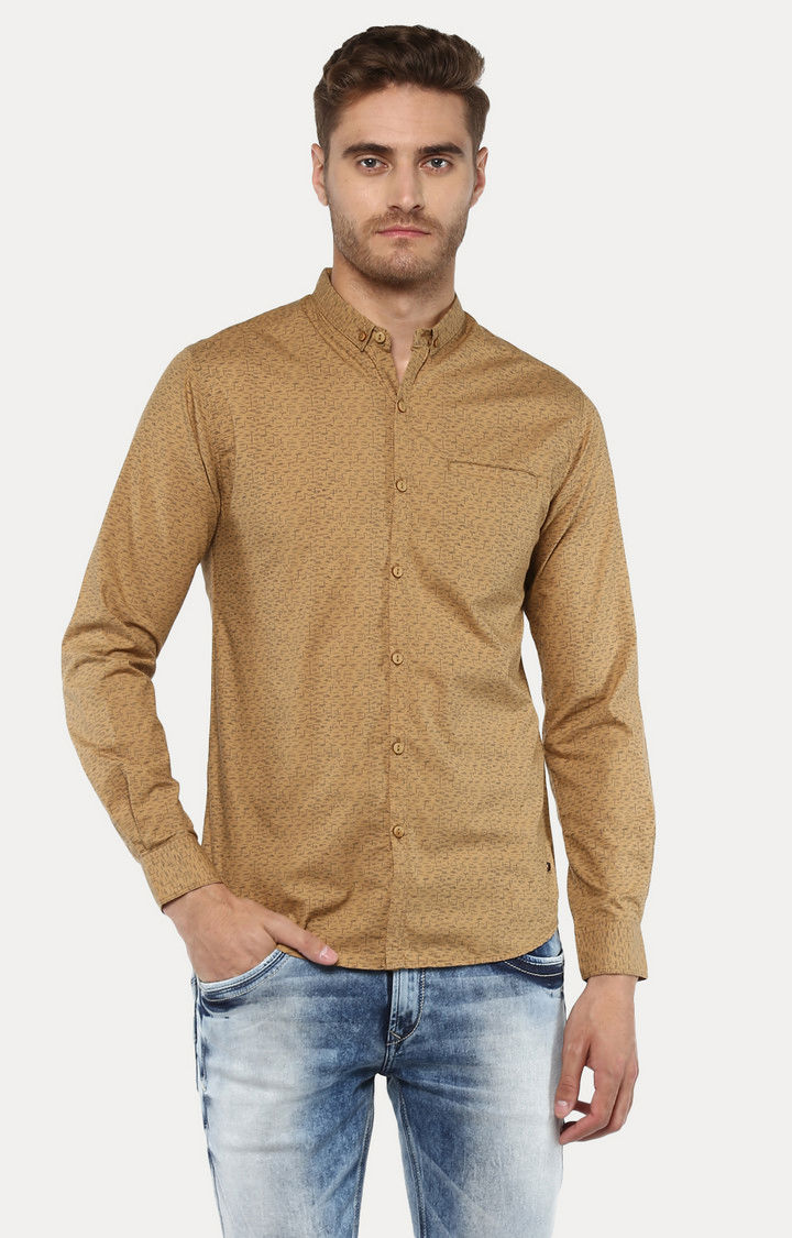 Khaki Printed Slim Fit Casual Shirts