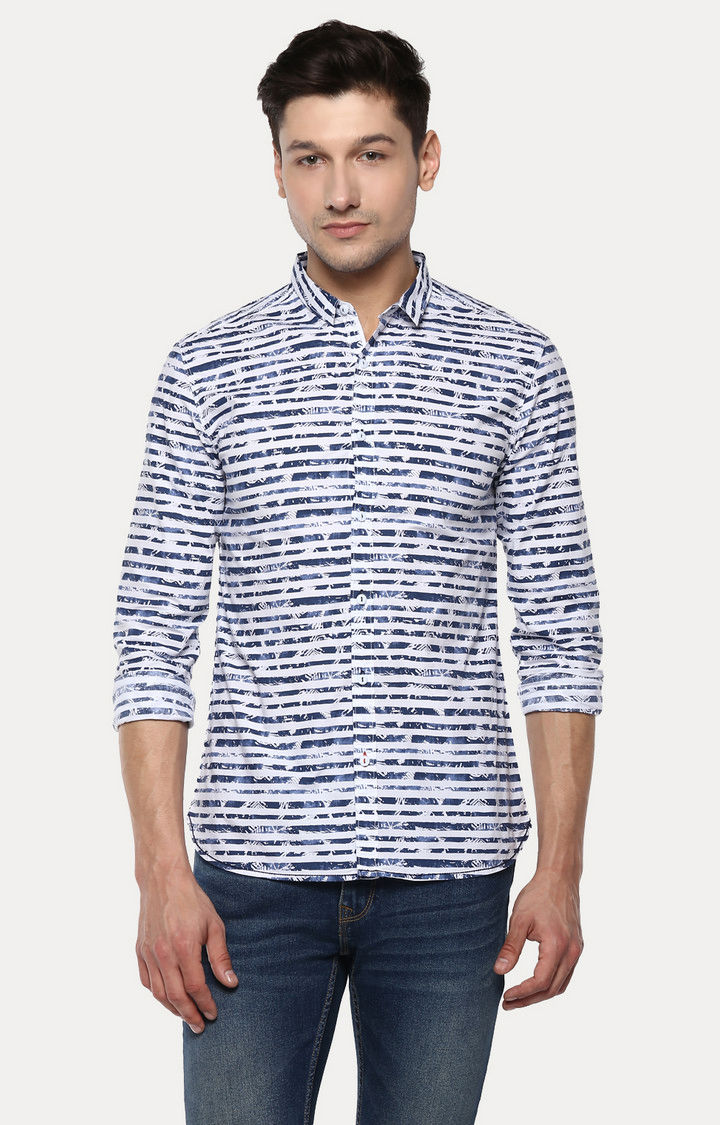 Blue Striped Slim Fit Casual Shirts