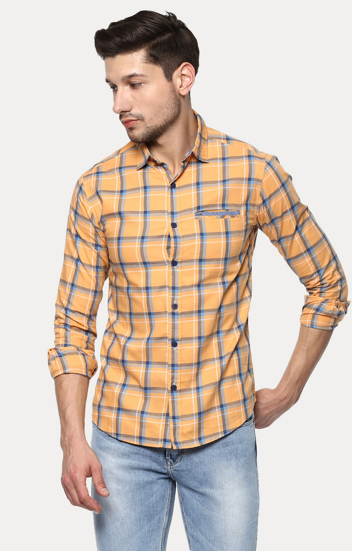 Orange Checked Slim Fit Casual Shirts