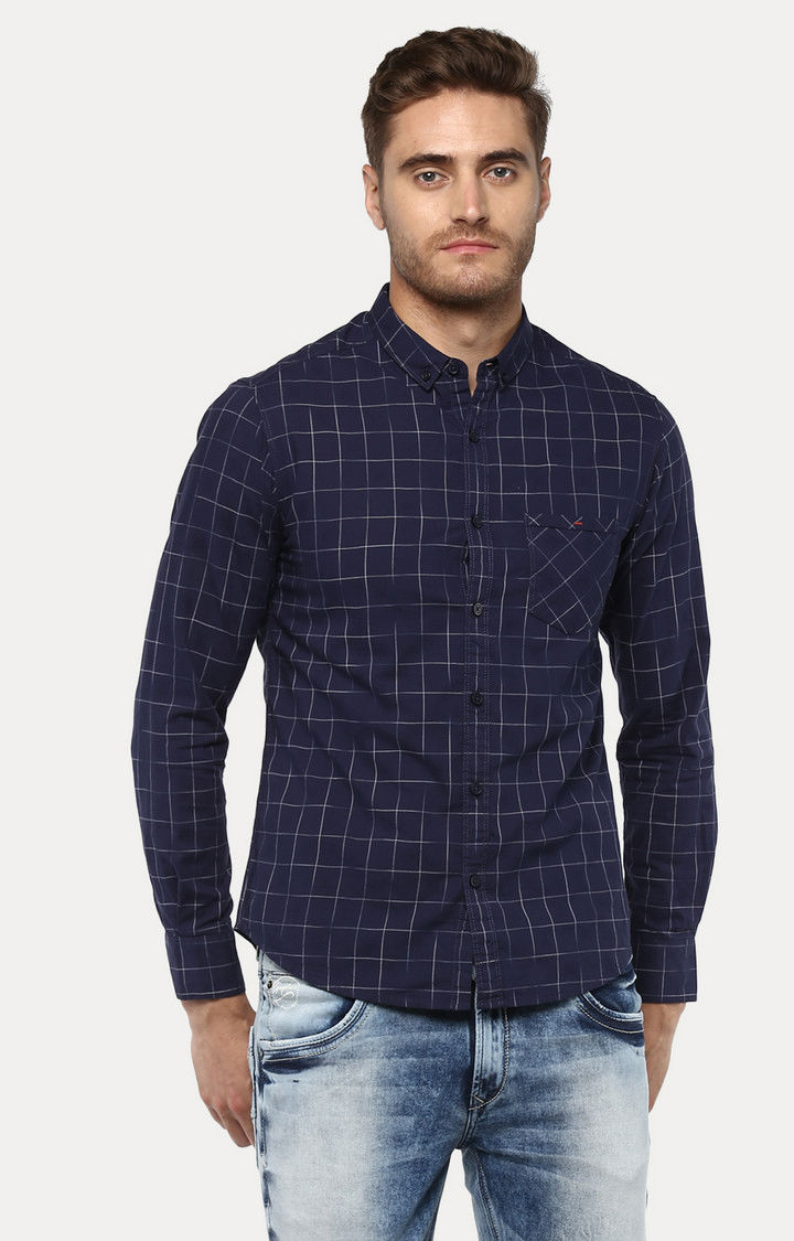 Navy Blue Checked Slim Fit Casual Shirts