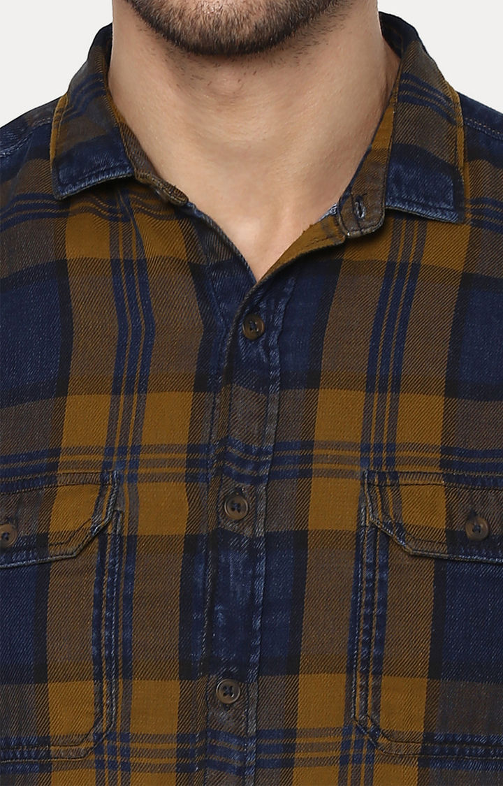 Yellow & Blue Checked Slim Fit Casual Shirts