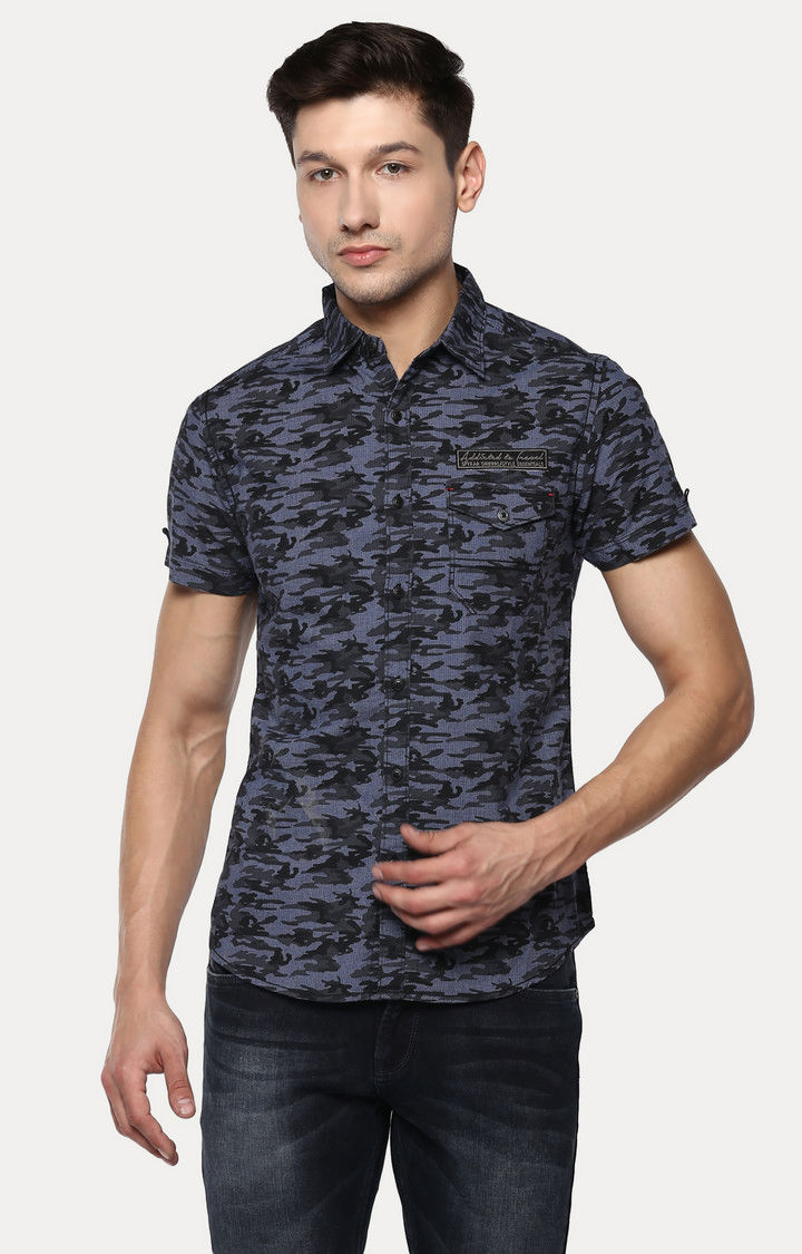 Blue Camouflage Slim Fit Casual Shirts