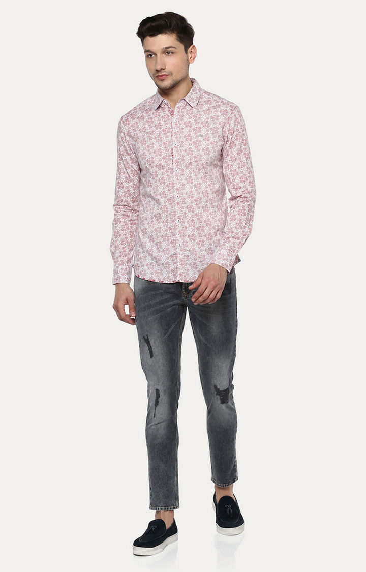 Soft Red Printed Slim Fit Casual Shirts