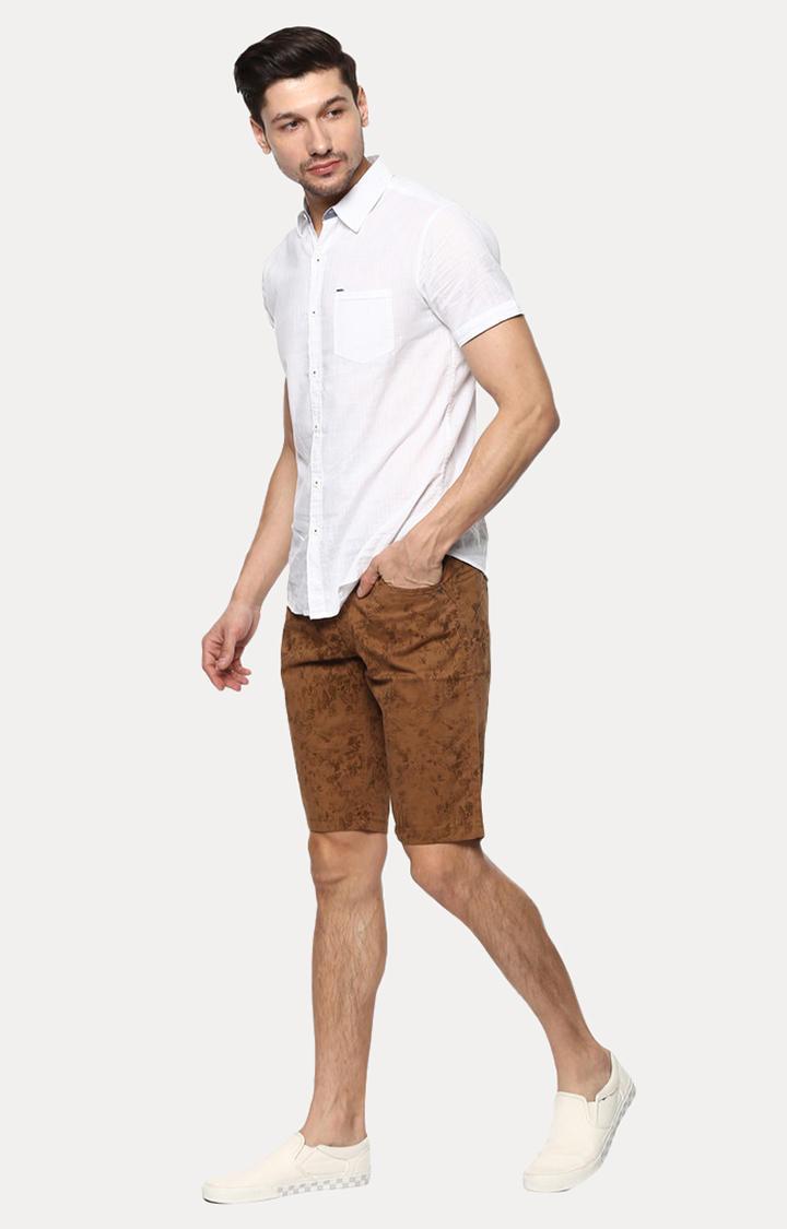 Brown Printed Slim Fit Shorts