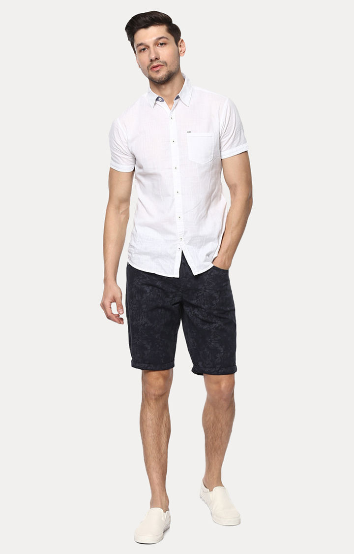 Navy Blue Printed Slim Fit Shorts