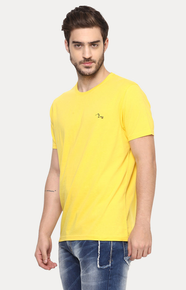 Navy & Yellow Solid Slim Fit T-Shirts
