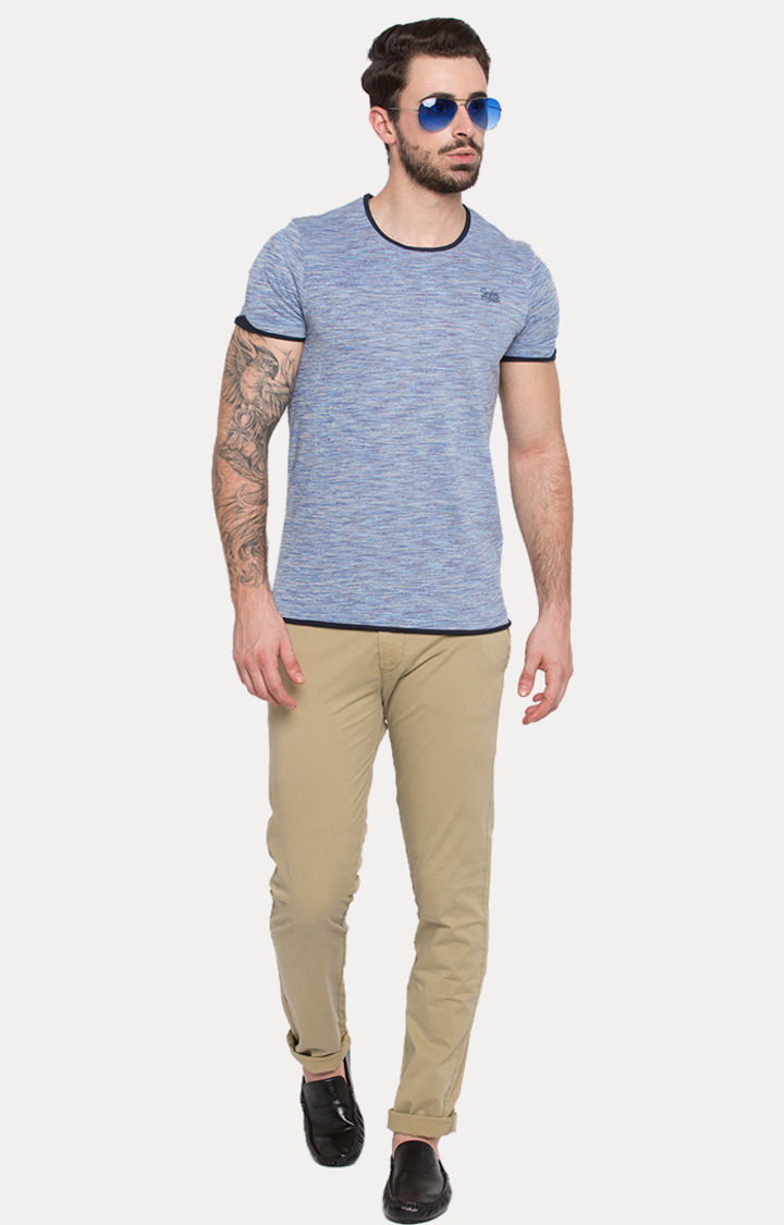 Blue Melange Slim Fit T-Shirts