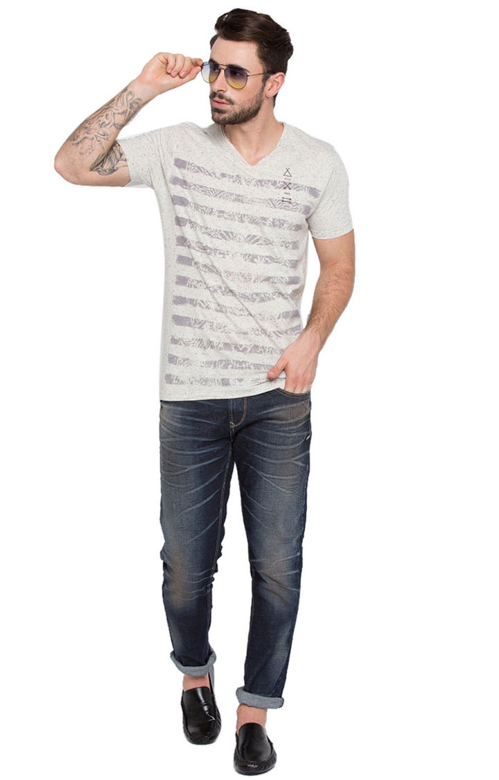Grey Striped Slim Fit T-Shirts