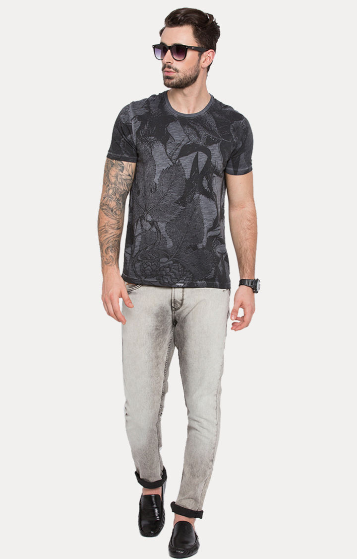 Grey Printed Slim Fit T-Shirts