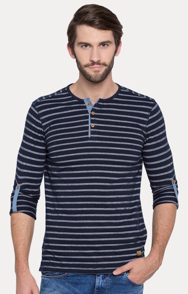 Navy Blue Striped Slim Fit T-Shirts