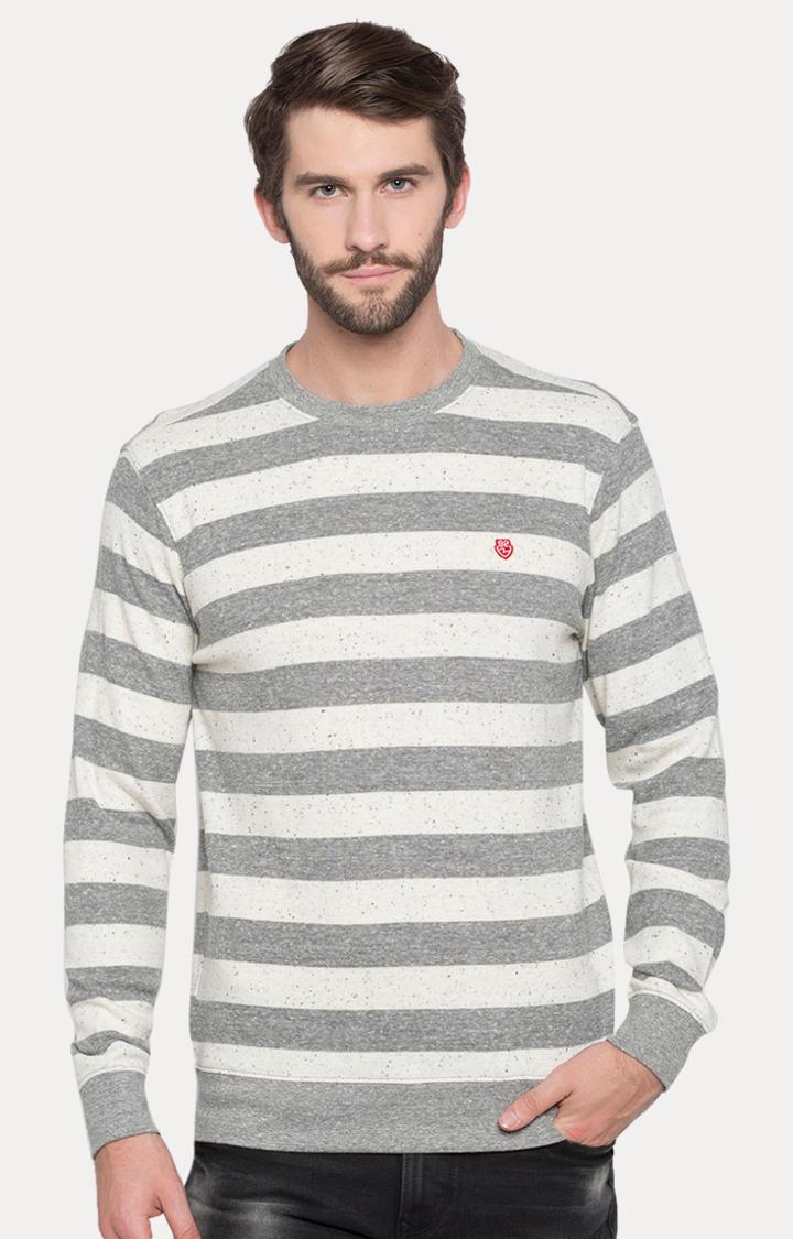 Grey Striped Slim Fit T-Shirts