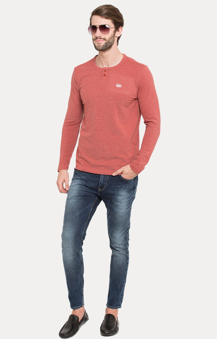 Red Melange Slim Fit T-Shirts