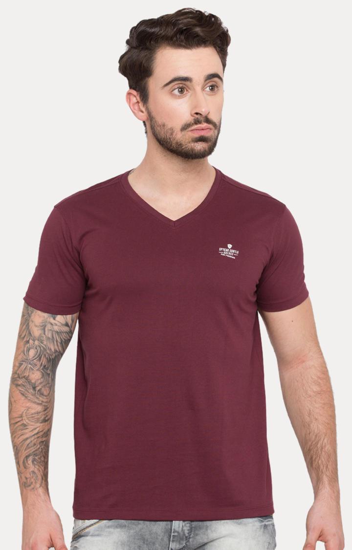 Wine Solid Slim Fit T-Shirts