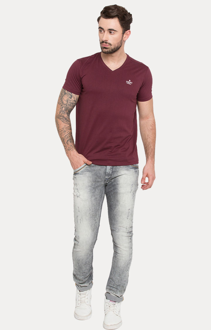 Wine Solid Slim Fit T-Shirts
