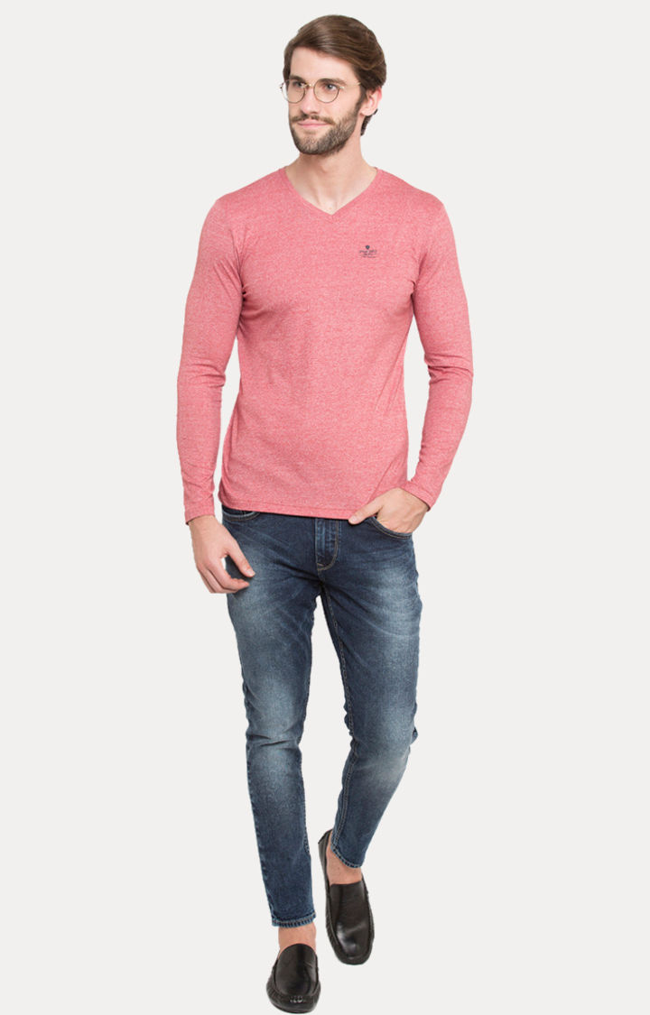 Pink Melange Slim Fit T-Shirts