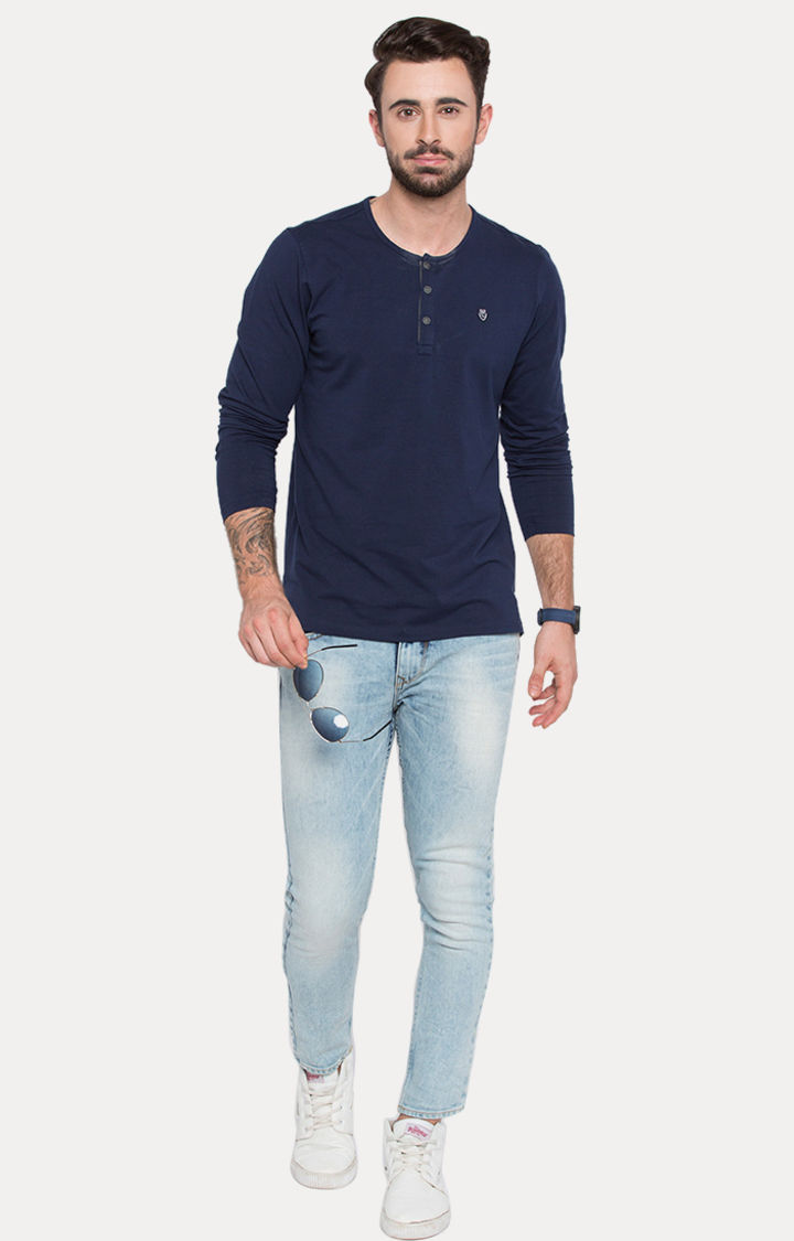 Navy Blue Solid Slim Fit T-Shirts
