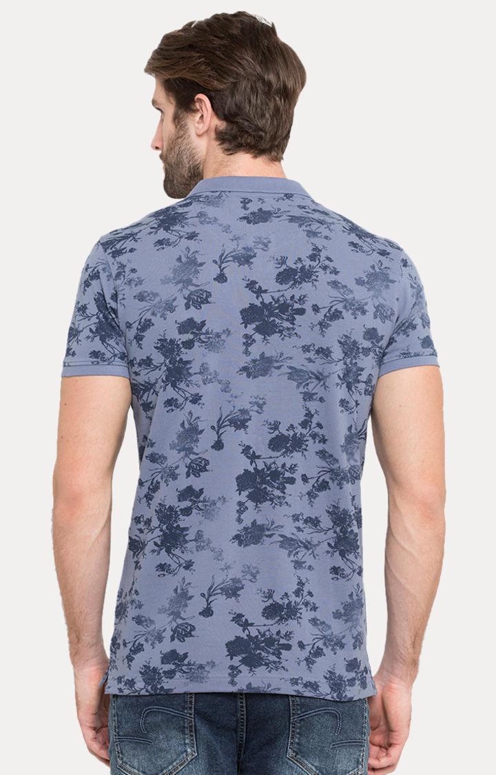 Blue Printed Slim Fit Polo T-Shirt