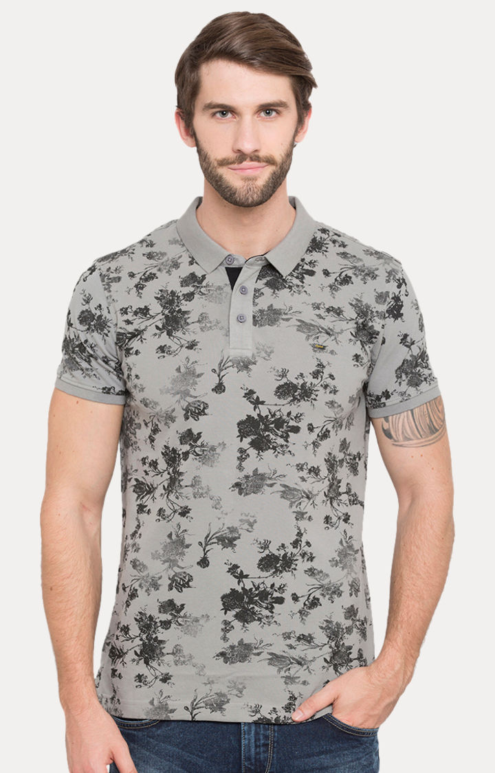 Grey Printed Slim Fit Polo T-Shirt