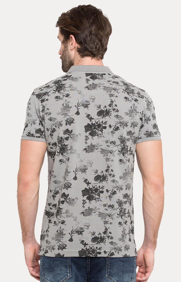 Grey Printed Slim Fit Polo T-Shirt