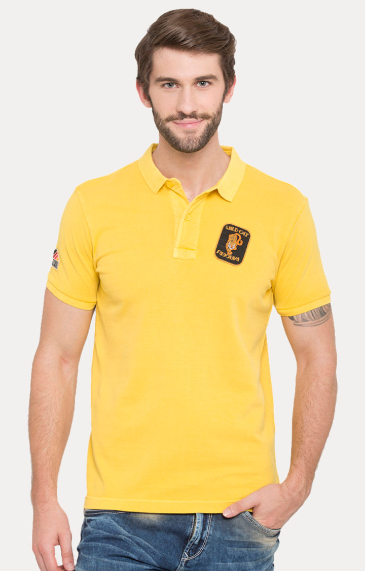 Yellow Solid Slim Fit Polo T-Shirt