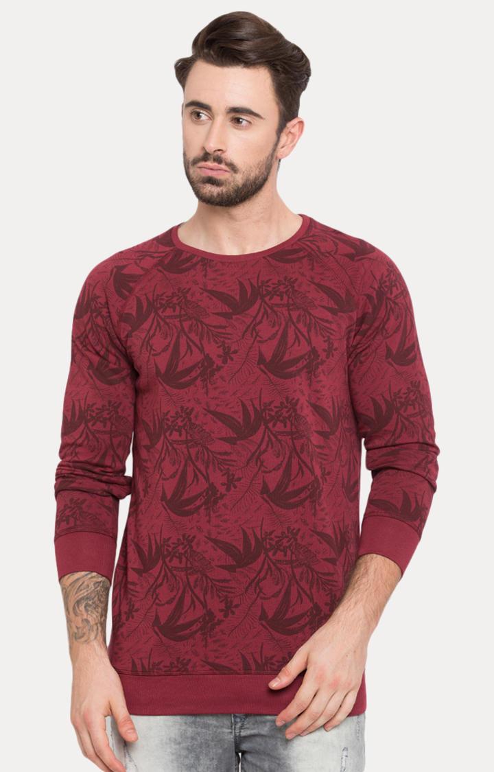 Purple Printed Slim Fit Sweatshirts