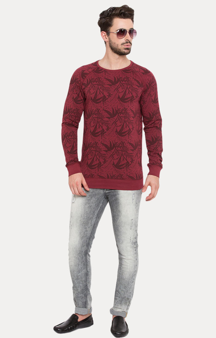 Purple Printed Slim Fit Sweatshirts