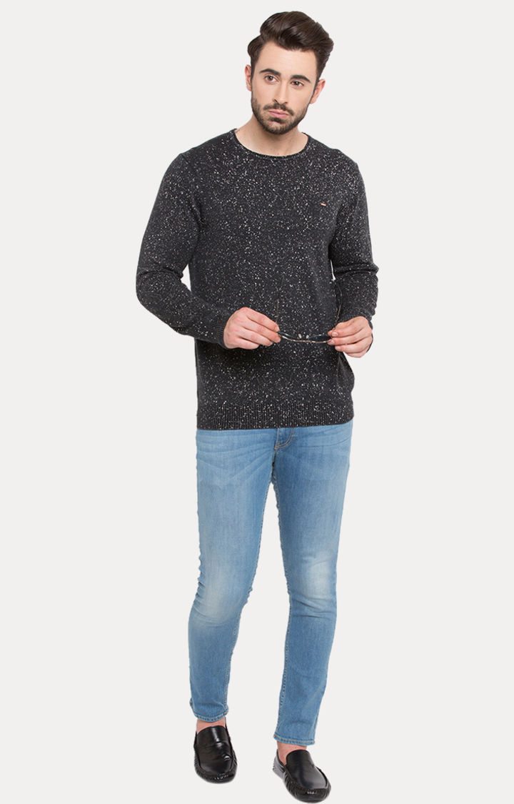 Black Printed Slim Fit Sweatshirts