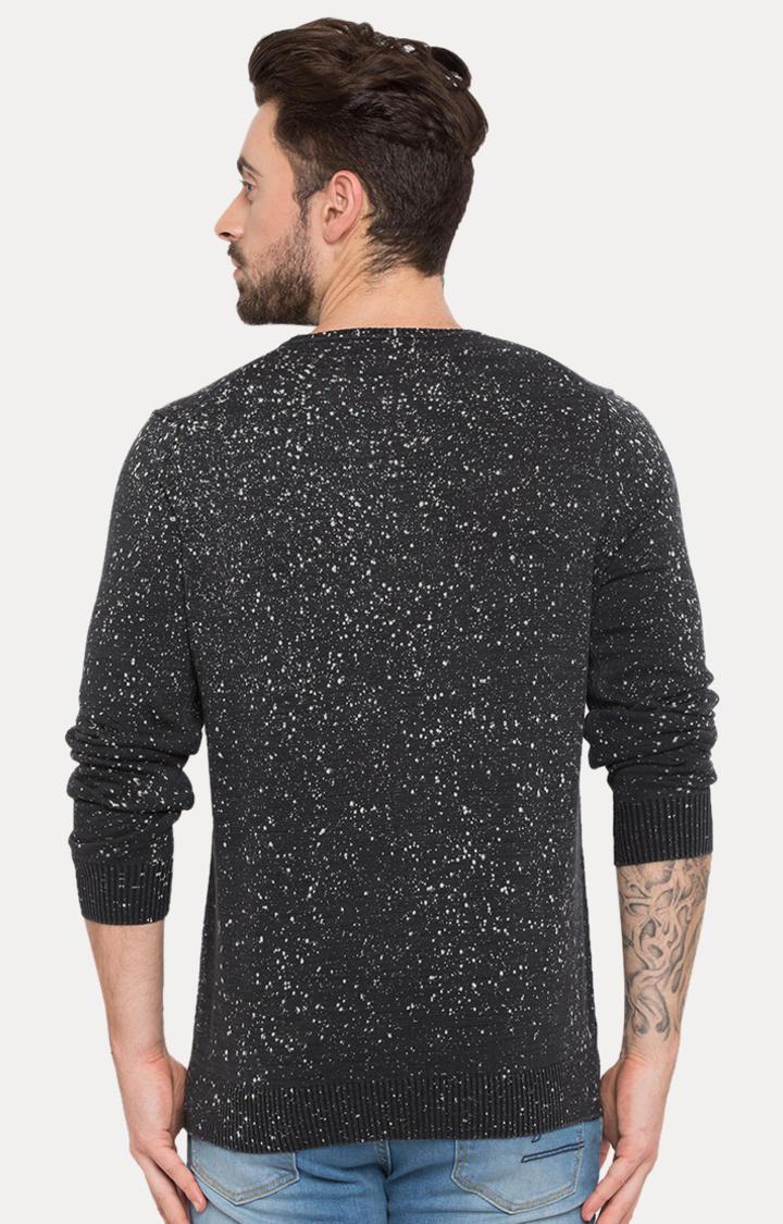 Black Printed Slim Fit Sweatshirts