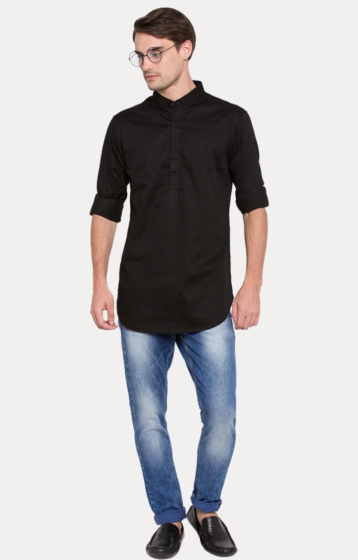 Black Solid Slim Fit Shirts
