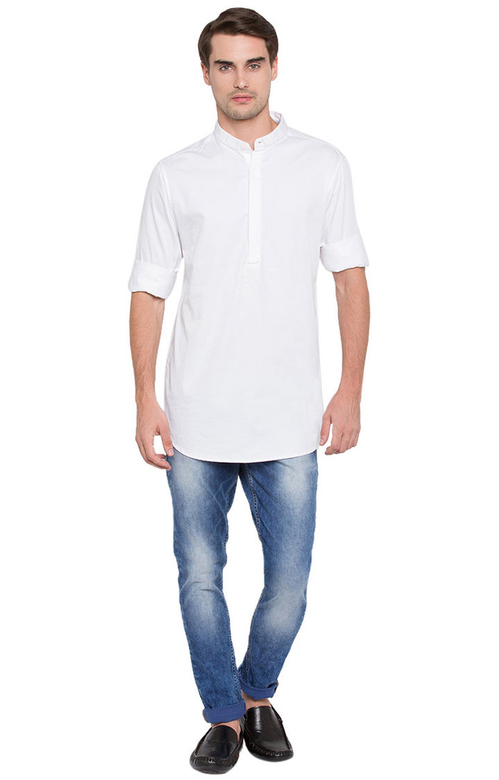 White Solid Slim Fit Shirts