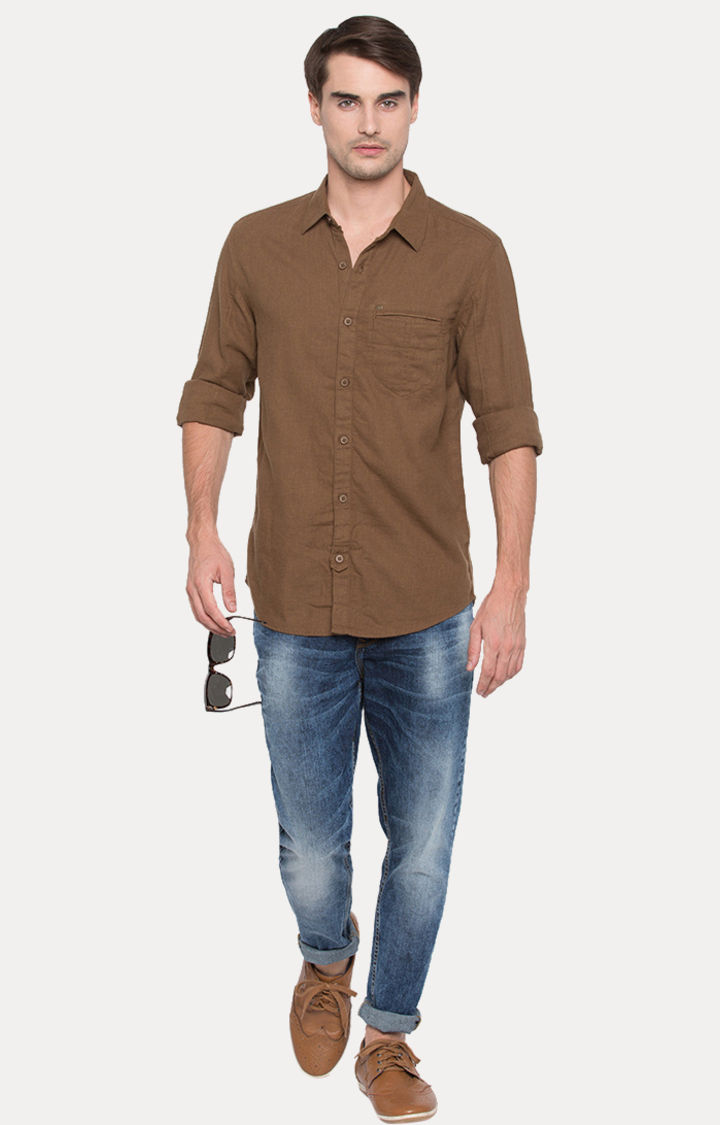 Brown Solid Slim Fit Casual Shirts