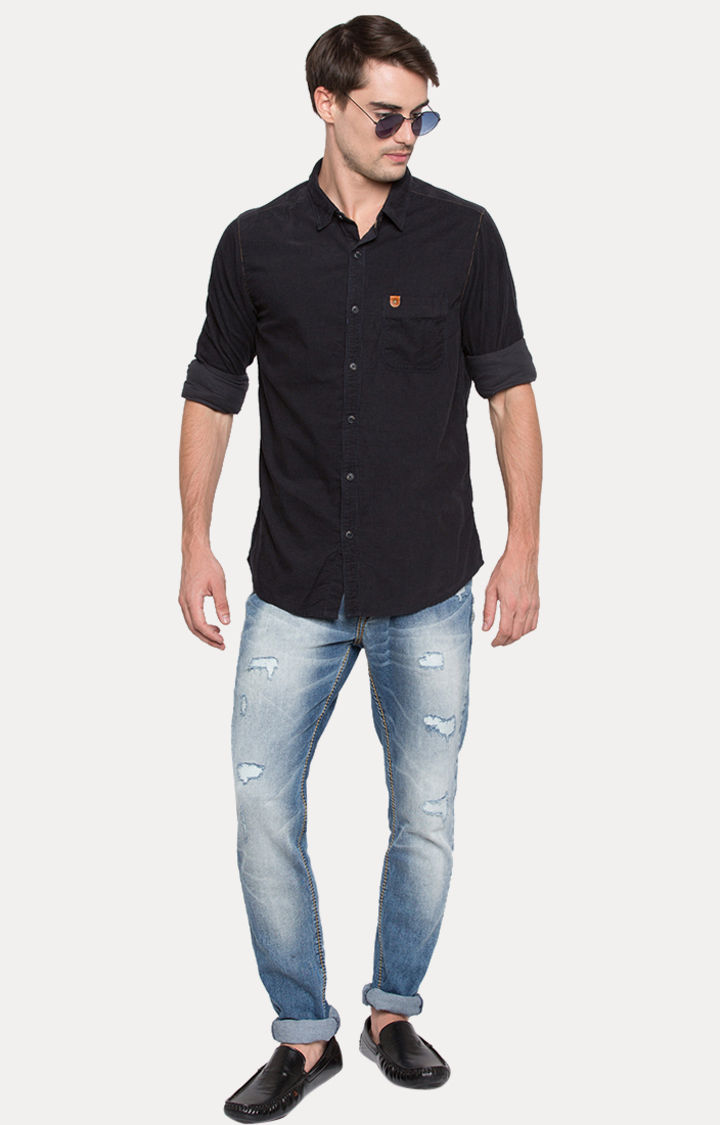 Navy Blue Solid Slim Fit Casual Shirts