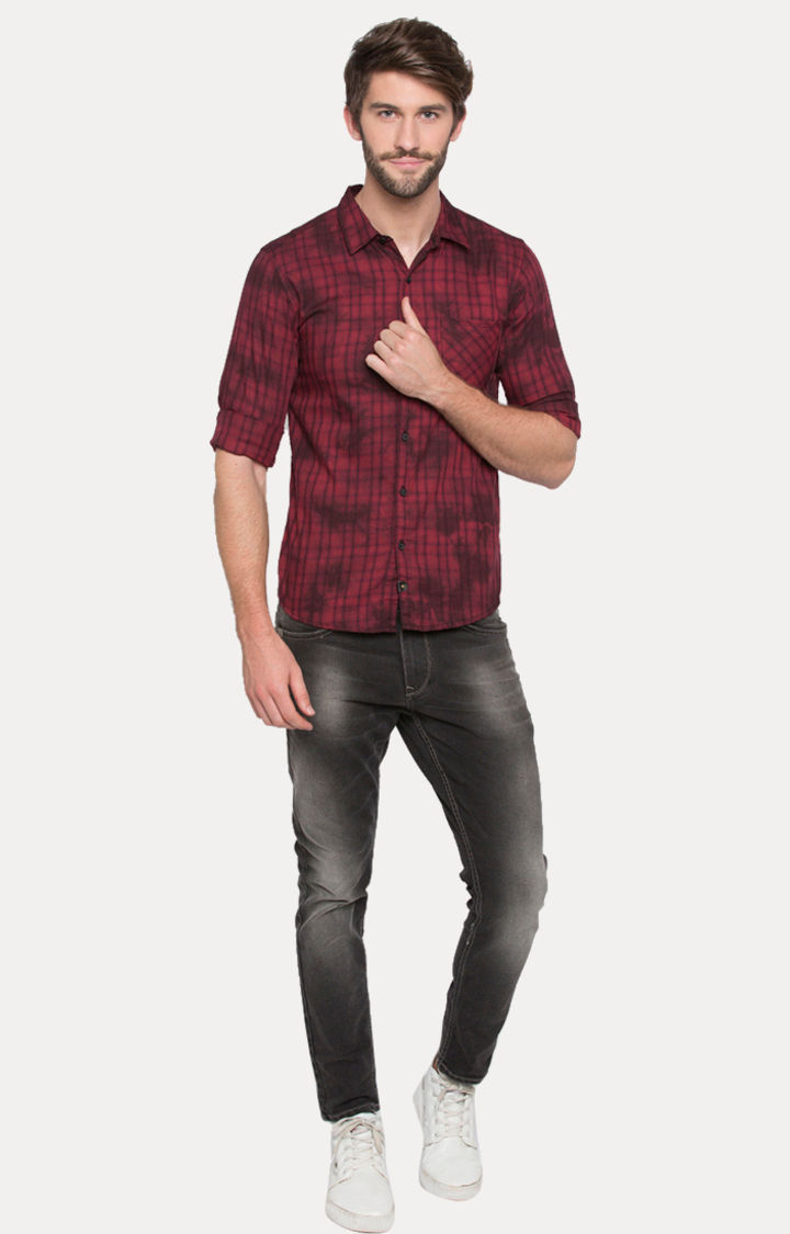 Red Printed Slim Fit Casual Shirts